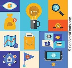 marketing, ícones internet