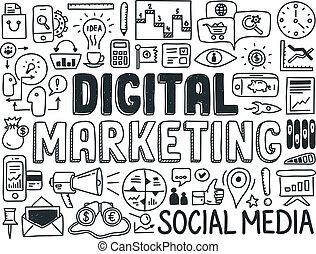 marketing, elementos, jogo, digital, doodle