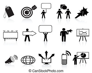marketing, jogo, pretas, ícones