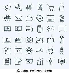 marketing, linha, ícones