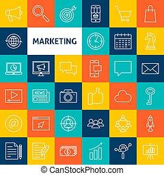 marketing, linha, vetorial, ícones