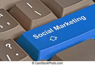 marketing, social, tecla, teclado
