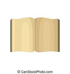 marrom, aberta, cobertura, ilustração, vetorial, fundo, branca, livro