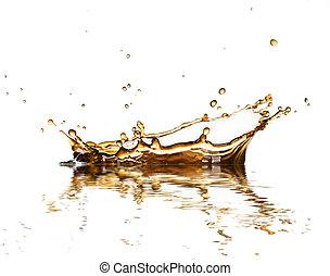 marrom, café, líquido, isolado, respingo, fundo, cola, branca, ou