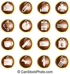 marrom, escritório, lustro, botões, alto, redondo