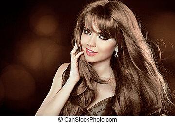 marrom, hairstyle., cacheados, longo, menina, atraente, hair., woman., sorrir feliz
