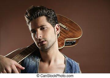 marrom, músico, jovem, jogador violão, excitado, homem