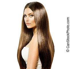 marrom, mulher, beleza, saudável, liso, cabelo longo, brilhante