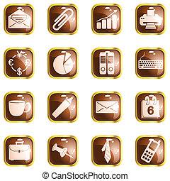 marrom, quadrado, escritório, lustro, botões, alto