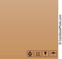 marrom, símbolo, frágil, papelão