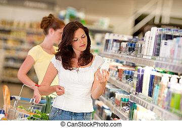 marrom, shopping mulher, série, -, cabelo, departamento cosméticos