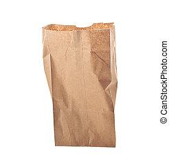 marrom, sobre, isolado, saco, papel, fundo, branca