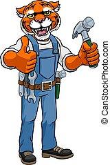 martelo, carpinteiro, segurando, mascote, handyman, tiger