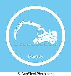 martelo, escavador, hidráulico