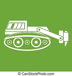 martelo, verde, hidráulico, escavador, ícone