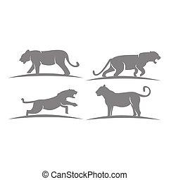 mascote, animal, gráfico, modelo, emblema, tiger, jogo, ilustração