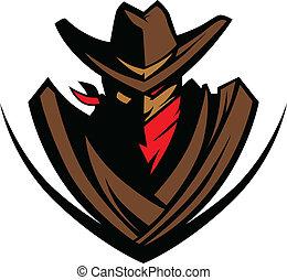 mascote, bandanna, chapéu, boiadeiro