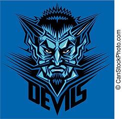 mascote, cabeça, diabo