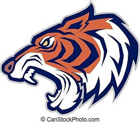 mascote, cabeça tigre