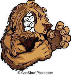 mascote, gra, urso, luta, mãos