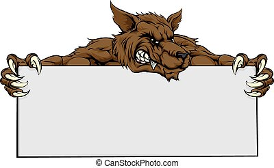 mascote, lobo, sinal