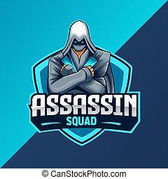 mascote, logotipo, assassino