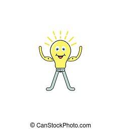 mascote, luz, ilustração, modelo, ícone, desenho, forte, caricatura, vetorial, bulbo