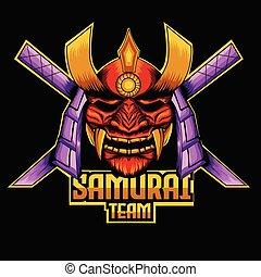 mascote, samurai, modelo, logotipo