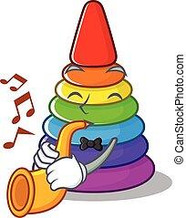 mascote, tocando, piramide, brinquedo, trompete, desenho, conceito