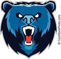 mascote, urso, cabeça
