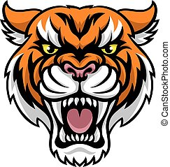 mascote, zangado, tiger