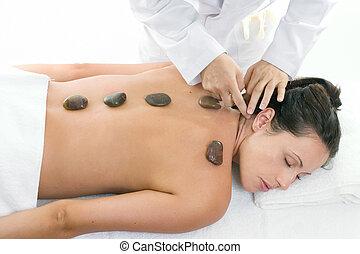 massagem, femininas, recebendo, tratamento, relaxante