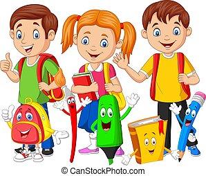 materiais, caricatura, feliz, crianças, escola