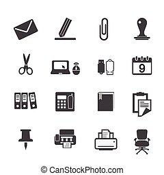 materiais, jogo, ícones escritório