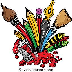 materiais, vetorial, arte, caricatura