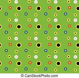 meadow., experiência verde, cinco, flores, tipos