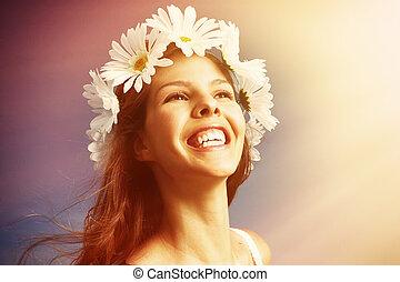 meadow., mulher, feliz