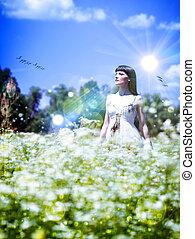 meadow., verão, abstratos, femininas, tempo, retrato