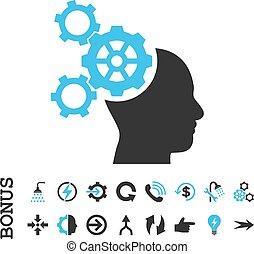 mecanica, apartamento, bônus, cérebro, vetorial, ícone