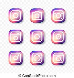 media., simples, câmera, jogo, ícone, social