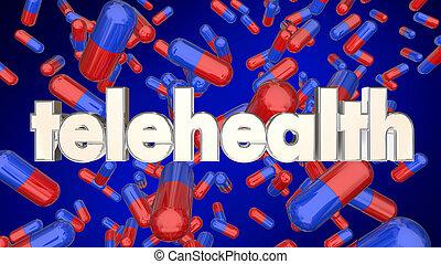 medicação, prescrição, serviço, telehealth, ilustração, online, pílulas, 3d