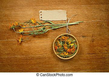 medicina, calendula., herbs., dried., herbário, medicinal, phytotherapy