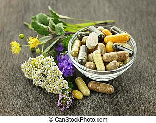 medicina herbácea, ervas