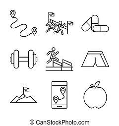 medicina, raça, maçã, executando, bandeira, desenho, acabamento, desporto, barbell, jogo, ícones, linha, pista