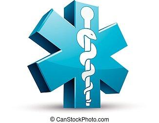 medicina, símbolo., emergência, ambulância