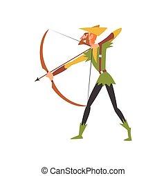 medieval, personagem, arqueiro, arco, ilustração, tradicional, vetorial, traje, histórico, macho, caricatura