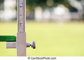 medindo, alto, atletismo, salto