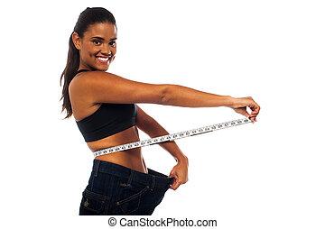 medindo, mulher, adelgaçar, cintura, dela