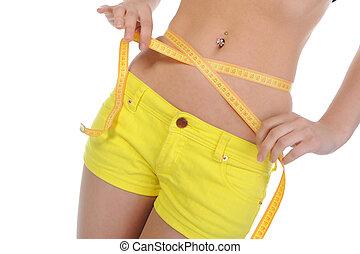 medindo, waist., mulher, jovem, esportes