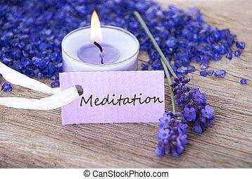 meditação, aquilo, etiqueta